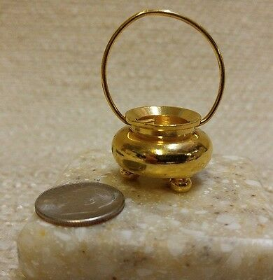 Miniature Kettle / Cauldron 3 Footed Brass 1:12 Scale 161162