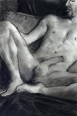 NUDE male, gay, RECLINE, Drawing Esteban Charcoal Pencil Graphite Realism 1/9/50