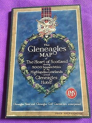 Vintage The Gleneagles Map of The Heart of Scotland MAP McCorquodale & Co, 1930