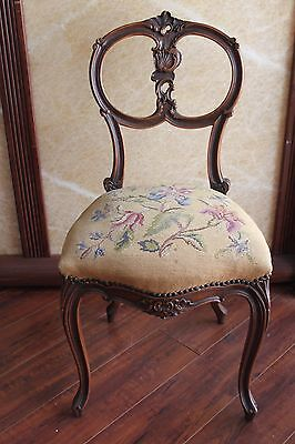 French Antique Louis XV Style Needlepoint Side Chair Accent Chair