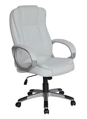 Designer Luxury Swivel Executive Computer Office Desk Chair Crystal White 8319