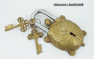 """Functional Brass Turtle Padlock 5.5"""" with Two Keys."""