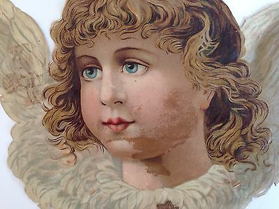 Antique Victorian Paper Christmas Ornament Angel With Wings