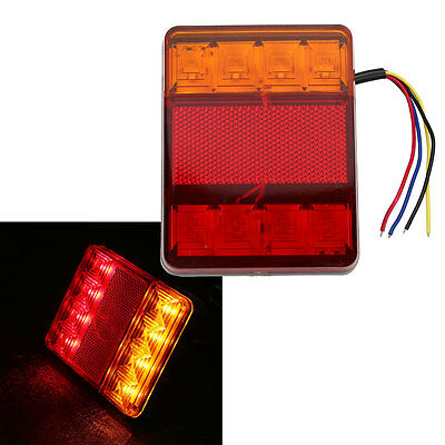 Left/Right LED Submersible Red Trailer Boat Rectangle Stud Stop Turn Tail Light!