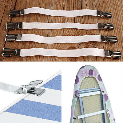 Useful 4pcs Metal Bed Sheet Fasteners Mattress Strong Elastic Clip Grippers