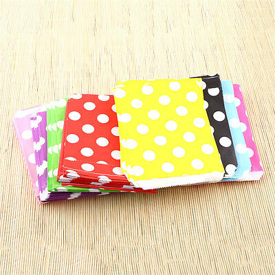 25X Polka Dot Sweet Candy Favour Popcorn Treat Gift Paper Party Bags 8Color
