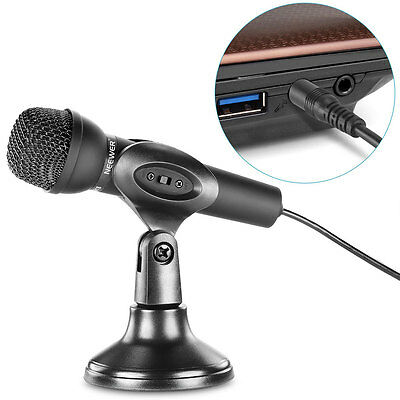 Mini Studio Microphone 3.5mm Stereo Plug With Desktop Stand For PC Computer