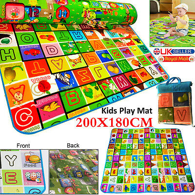 Kids Crawling 2 Side Soft Foam Educational Baby Play Mat Picnic Carpet 200x180cm