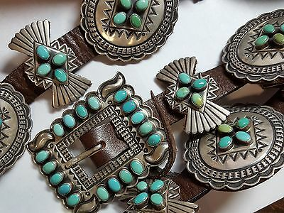 Andy Cadman Navajo Artist Great Sterling Silver A+ Turquoise Concho Belt 3576