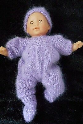 """Doll Clothes Lilac-Lavender mohair hand-knitted onesie set Fit 11""""-12""""-13in."""
