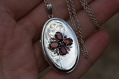Vintage Sterling Silver Locket with Garnet Ruby 8 g with Silver 18 in Chain