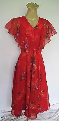 DRESS Red Floral Floaty Frill Genuine 1970s VINTAGE Sz 12-14 Party Retro Wedding