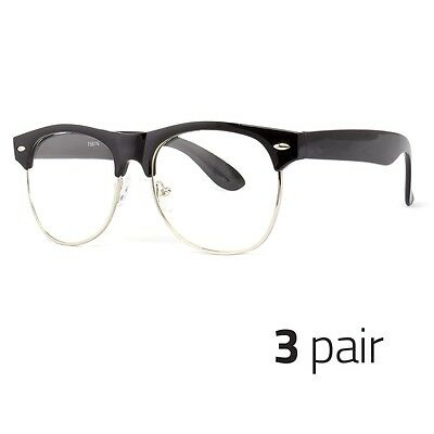 3 PC Fashion  Half Frame CLEAR LENS GLASSES Black Silver Color Vintage Retro