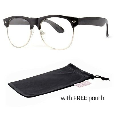 Fashion  Half Frame CLEAR LENS GLASSES Black Color Vintage Retro FREE POUCH c