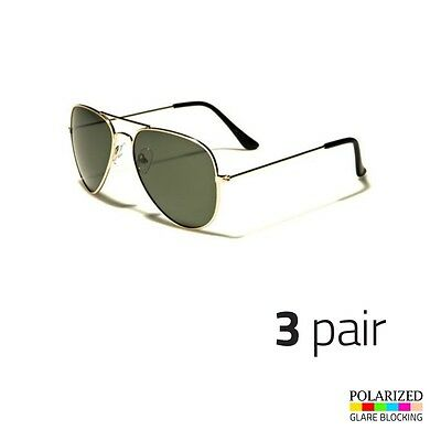 f100ffa49d3b8 3 PAIR Men s Polarized Sunglasses Gold Driving PILOT Outdoor Eyewear Glasses  a