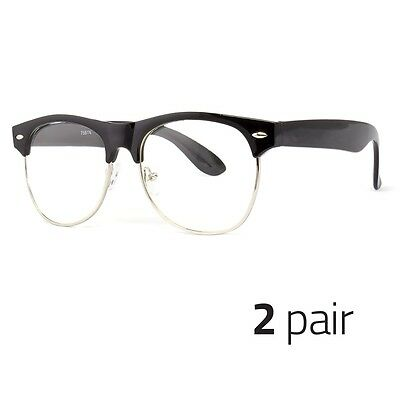 2 PC Fashion Half Frame CLEAR LENS GLASSES Black Silver Color Vintage Retro