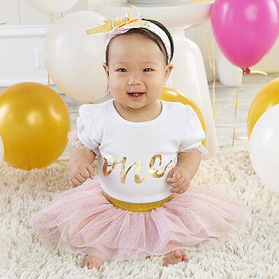 """""""My First Birthday"""" Baby Aspen 3 Piece Pink & Gold Tulle Tutu Outfit"""