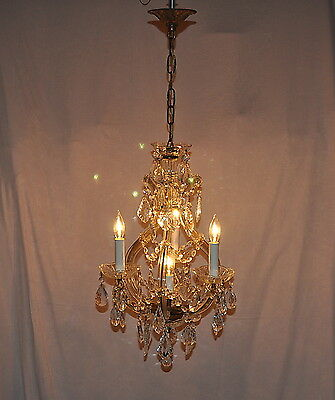 BEAUTIFUL ANTIQUE MARIA THERESA CHANDELIER with CRYSTALS COMPLETE with HARDWARE!