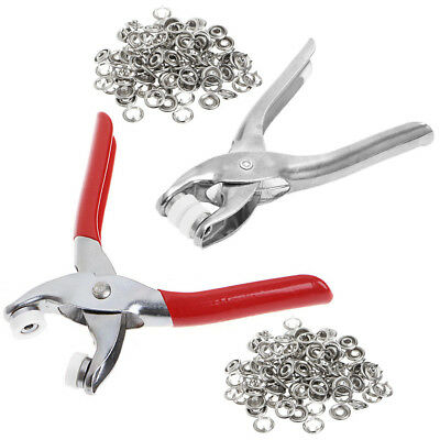 Metal Prong Ring Snap Fasteners Press Studs Poppers Plier  + 100Pcs Ring Snap