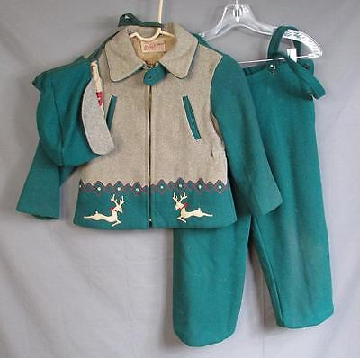 Vintage 1940s Sleigh Bell Wool Winter Christmas Outfit Jacket Pants Hat Antique