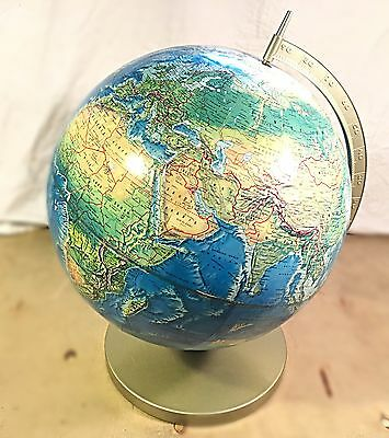 Vintage 1960s Rand McNally World Portrait Globe 3D Raised Topograph 12""