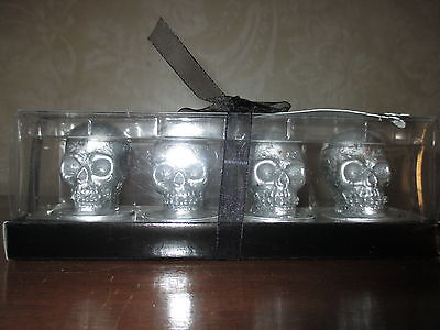NWT Silver Skull Tealight Candle Set - Cool & Creepy-Halloween!!