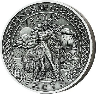 The Norse Gods - Freyr 2 oz Antique finish Silver Coin Cook Islands