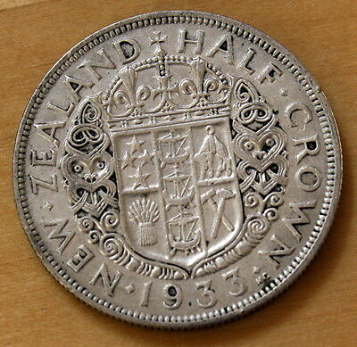 1933 New Zealand Half Crown Silver