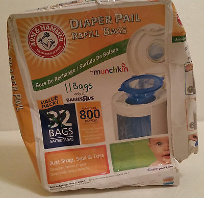 Munchkin Arm and Hammer Diaper Pail Refill Bags 11 Count Snap Seal And Toss