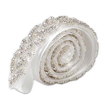 Beauty Rhinestone  Bridal Sash Waist Belt Satin Ribbon Wedding Party Dress NEW