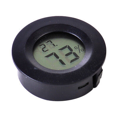 Accurate Digital Cigar Humidor Hygrometer Thermometer Temperature Round Black
