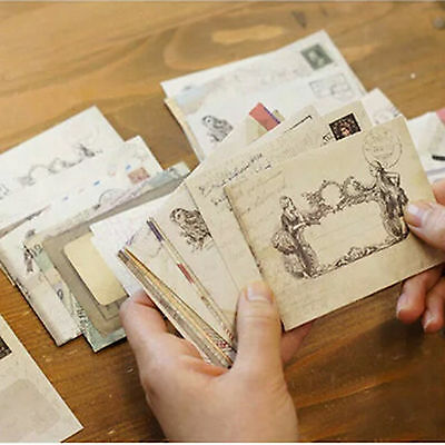 12Pcs/set Vintage Style Mini Card Paper Envelope Xmas Brithday Holiday Gift New