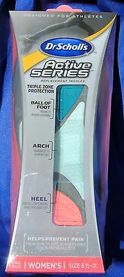 Dr Scholls Womens Active Series Replacement Insoles Size 8 1/2-11 New