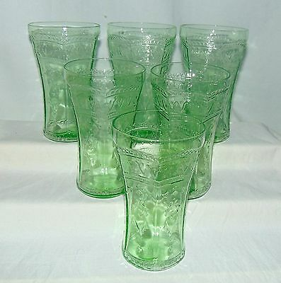 "6 Federal PATRICIAN GREEN *5 1/2"" ICED TEA TUMBLERS*"