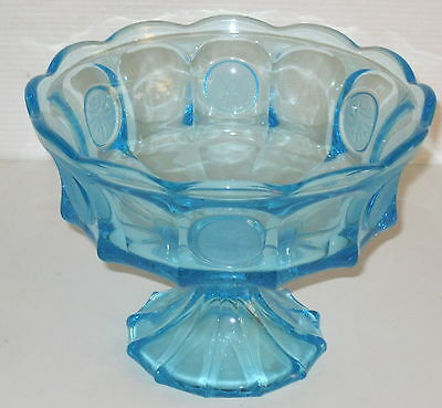 """Fostoria COIN FROSTED BLUE *8 1/2"""" FOOTED BOWL*"""