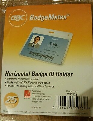 GBC BadgeMates Horizontal ID Badge Holder, 4 x 3 Inches, Clear, 25 Holders per