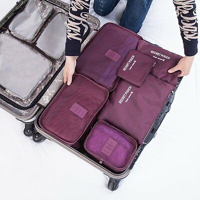 6 Pcs/Set Travel Luggage Storage Bag Clothes Storage Organizer Pouch Case# EA