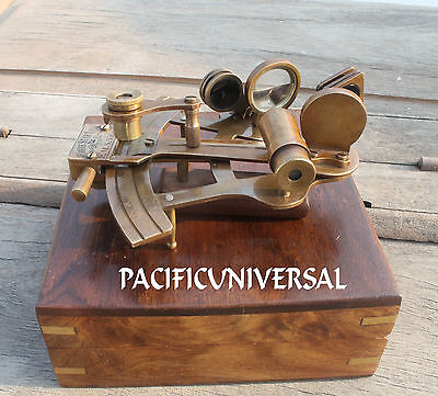 Antique Marine Solid Brass Sextant With Wooden Box Vintage Ship Astrolabe Gift.