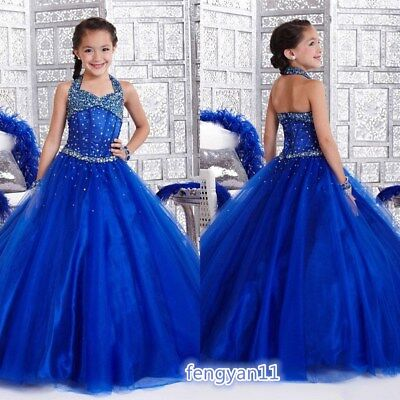 Blue Pageant Ball Gown Party Birthday Wedding Prom Girls Formal Dress