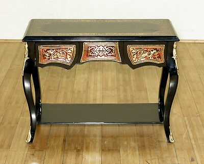 Antique French Style Black Boulle Low Console Table       E432-F-152