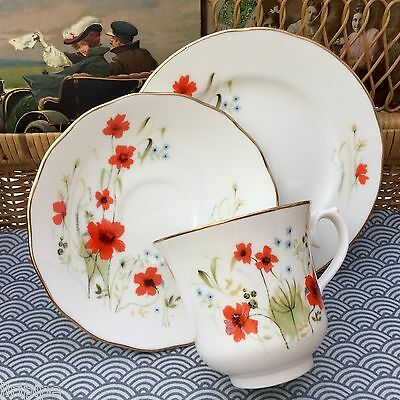 ROYAL VALE BONE CHINA 1960s TRIO CUP SAUCER PLATE SET - POPPY POPPIES CORNFIELD