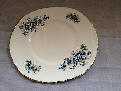 ROYAL VALE BONE CHINA 1960s CAKE PLATE - BLUE FORGET ME NOT   GILDED EDGE