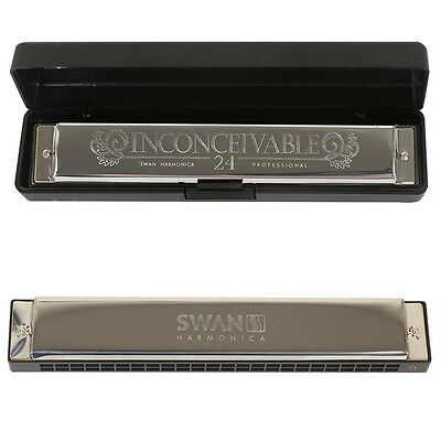 New Professional 24 Hole Harmonica Music Instrument C Key Mouth Organ with Case