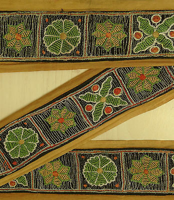 Vintage India Sari Trim Border Sewing Lace Embroidered Used Brown Ribbon 1YD