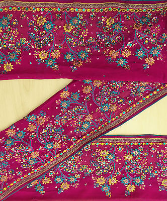 Vintage India Sari Trim Border Sewing Lace Embroidered Used Magenta 1YD Ribbon
