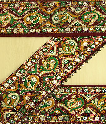 Vintage India Sari Trim Border Sewing Lace Antique Embroidered Maroon 1YD Ribbon