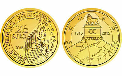 New 2015 €2.5 Two and Half Euro Coin Coincard Battle of Waterloo Belgium new