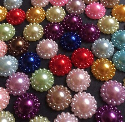 100 X Mixed Colour Pearl Acrylic Flatback Flower Embellishments (12mm) Approx)