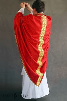Red Conical Vestment Chasuble Kasel Messgewand Stole Stola Maniple Manipel