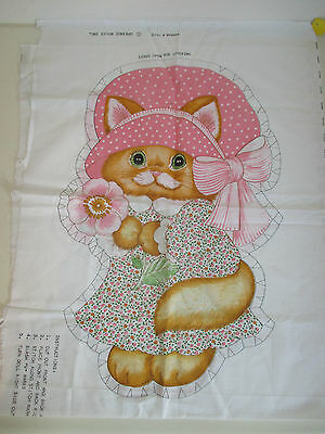 Miss Kitty Stuffed  Doll/ Cushion Cut & Sew Fabric Panel by Springs Mills # 7478